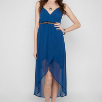Empire Chiffon Dress in Royal Blue :: tobi