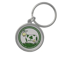 Clover cow st patrick day text graphic.png key chains from Zazzle.com