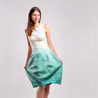 Felted dress white and mint nunofelting new collection by Baymut