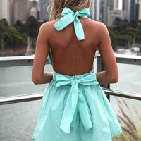 Teal Halter Dress with Open Back &amp; Tie Bow Detail