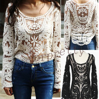 Sexy Semi Sheer See Through Sleeve Embroidery Floral Lace Crochet Top T -Shirt