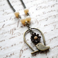Bird Cage Pendant - Bird Necklace - Brown And Cream Necklace | Luulla