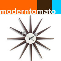 walnut sunburst star clock by moderntomato modern danish retro mid century  | eBay