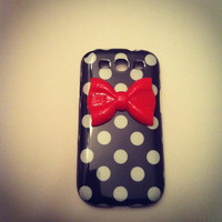 Samsung Galaxy S3 SIII Black &amp; White Polka Dot with Red by VD5555