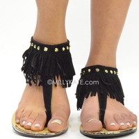 Black Hippie Fringe Ankle Sandals Indian  from Milly Kate