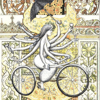 Note cards with envelopes, set of 5, bicycle, goddess, by Leslie Fry