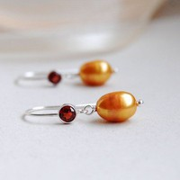 Gold Pearl Earrings  Bridal Sterling Silver by LuciaStofej on Etsy