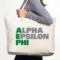 Alpha Epsilon Phi Canvas Tote Bag - Stacked - Alpha Epsilon Phi - Greek