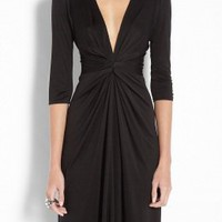 Issa | Black Gather Waist Silk Jersey Dress by Issa