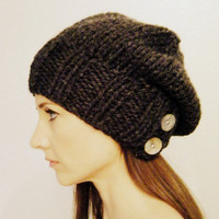 Women&#x27;s slouch hat knit Charcoal unisex by KittyDune on Etsy