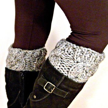 Boot cuffs Grey Gray Marble by KittyDune on Etsy