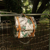 CUSTOM BACKPACK MESSENGER floral 3 way back pack- messenger bag- attache ruck sack with leather straps- made to order