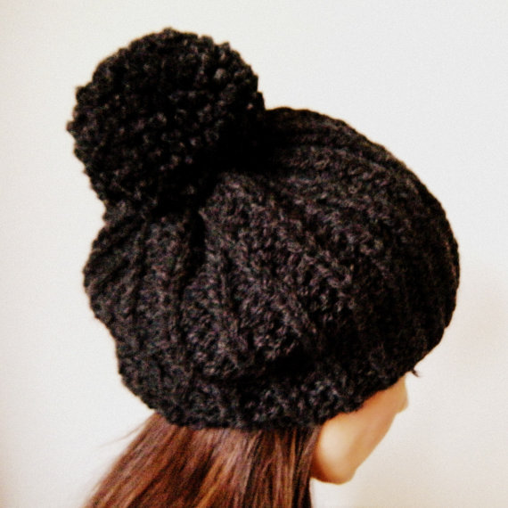 Woman's slouch hat with pom pom in Charcoal unisex by KittyDune