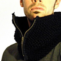 Man Cowl Black by KittyDune on Etsy