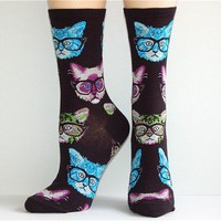 Socksmith Kitten Cats With Glasses Nerdy Socks