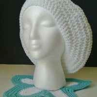 White Crochet Oversized Slouchy Beret/Hat - Adult Size
