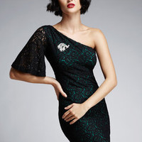 ideeli | NINE WEST One-Shoulder Paisley Lace Dress