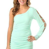 one shoulder club dress with open sleeve and stone cuff - debshops.com