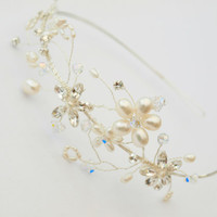 Wedding Flower Vine Side Tiara Bridal Hair Accessories Forehead or Brow Boho Headdress Tiara Wedding Hair Piece Bridesmaid Accessory