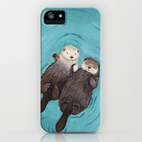 Otterly Romantic - Otters Holding Hands iPhone Case by When Guinea Pigs FLy | Society6