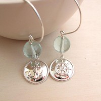 Sailor Earrings - Silver And Aquamarine - Sterling Silver Pendant - Handmade Silver Earwire - Nautic | Luulla