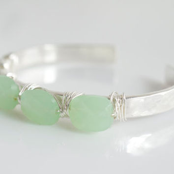 Chalcedony Bangle Bracelet, Gemstone Bangle Braclet, Chalcedony Bracelet