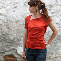 Orange Asymmetrical Top with Short Sleeves by bevisible on Etsy