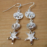 Sterling Silver Sand Dollar/Shell/Starfish Earrings - Sand Dollar Earrings