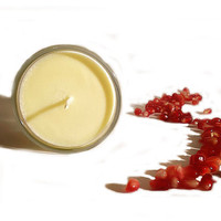 Pomegranate Sage Soy Candle - fruity and earthy. Great spring gift, home decor, uplifting and grounding