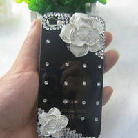 3D Handmade Black Alloy Camellia & Bling Crystal DIY iPhone4 4S Case Cover C03