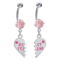 "Pink CZ ""Best Friend"" Charm Pendant Belly Button Navel Ring"