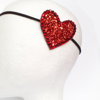 Red Heart headband GLITTER Valentine&#x27;s day by JeSuisPrettyful