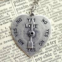 Silver 50s Spinner Heart Necklace - $18.00 : RagTraderVintage.com, Handmade Indie Retro Accessories