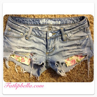 Gorgeous hipster distressed floral print pocket beach shorts