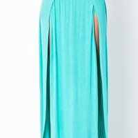 High Waist Banded Maxi Skirt With Slit - MINT  Tanny&#x27;s Couture LLC