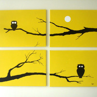 Owl Paintings Yellow Black White 18 x 24 Set of 4 by rickycolson