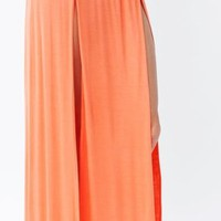 High Waist Banded Maxi Skirt With Slit - PEACH/CORAL   Tanny&#x27;s Couture LLC