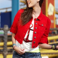 Red Cropped Denim Jacket