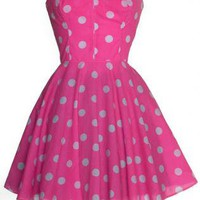 40% OFF! Pin-up Pink Polka Dot Prom Dress