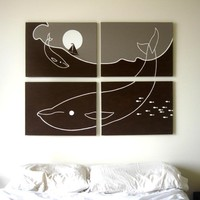 Whale Paintings in Gray, Brown, &amp; White 18 x 24 (Set of 4)