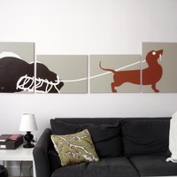 Dachshund Paintings in Custom Colors 18 x 24 (Set of 4)