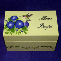 Hand Painted Hummingbird Recipe Card Box Wood Box Wooden Personalized Custom Kitchen Decor
