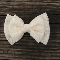 Product - Medium Double Lace bow ( Choose color ) by Little Lady Boutique  Storenvy