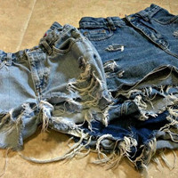 High Waisted Shorts Custom Made Denim Jean Shorts Hipster Tumblr Grunge