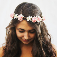 Bridal Hair Wreath  Valentines Day Flower by BloomDesignStudio