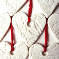 Heart Valentines ornaments White porcelain by PrinceDesignUK