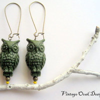 Rustic Owl Earrings Dark Green Foliage Owl by VintageOoakDesigns