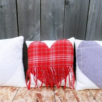 Fringe Heart Pendleton Pillow // Valentine Pillow // Gift // Red plaid and cream wool pillow // small decorative heart pillow