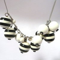 Black and White Oversized Bead Necklace by WanderingLaur on Etsy