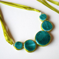 Statement Necklace In Shades Of Turquoise, Jade And Green | Luulla